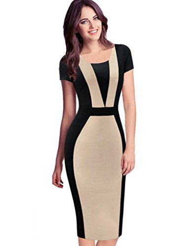 VfEmage-Womens-Elegant-Colorblock-Contrast-Work-Business-Casual-Pencil-Dress