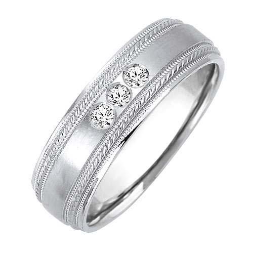 0.12ct Sterling Silver Classic Round Cut Eternity Diamond Cut Wedding Band Size - 12.5