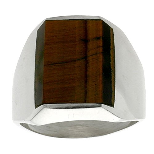 Sterling Silver Tiger Eye Ring for Men Rectangular Flat Solid Back Handmade, size 11