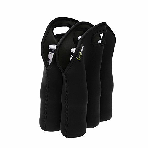 Insulated 6 Pack Neoprene Bag Bottle Holder Can Cooler Baby Bottle-Feeding Tote for Water Milk Cola Beer Wine with Free Bonus Multitool Bottle Opener (Black) (22 Ounce Beer compare prices)