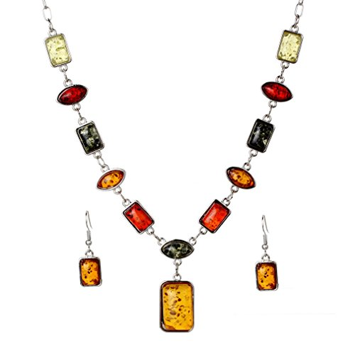 YAZILIND Newest Women's Silver Plated Amber Necklace Gift Party Jewelry Sets Chain Necklace Earrings Sets
