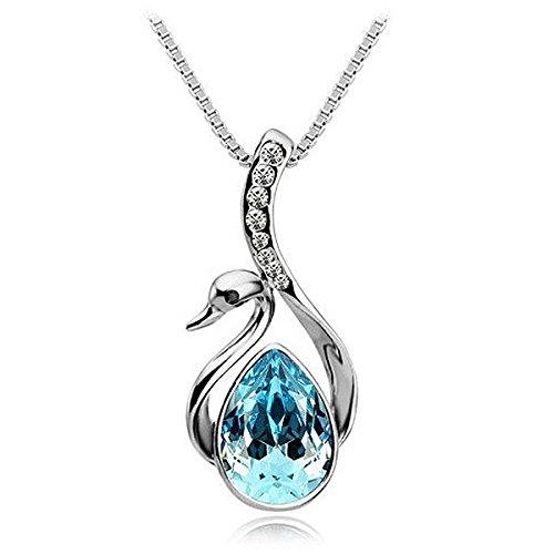 Museya Ragazze argento vendita calda le donne belle placcato cigno di cristallo ciondolo collana catena (azzurro cielo)