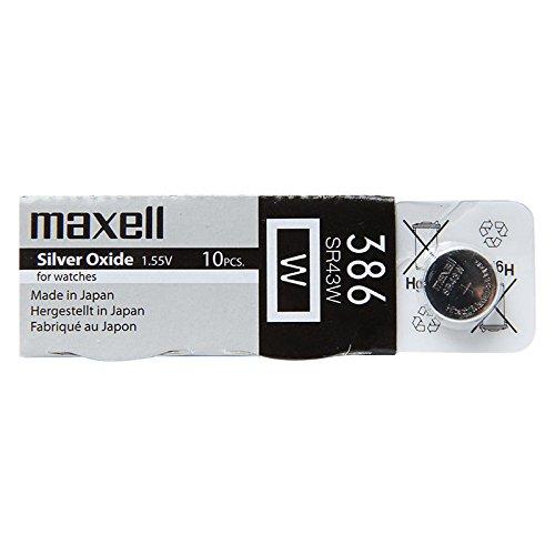 Maxell 386 SR43 W 1 Lot X 10 Oxyde d'argent 1,55 V pour montre fabriqué au Japon