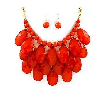 WIIPU red Teardrop Bubble Bib Statement Necklace & Earrings