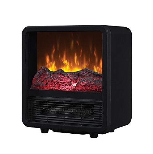 Twin-Star Home CFS-300-BLK Portable Electric Personal Space Heater Cube with Electric Fireplace, Black (Log Space Heater compare prices)