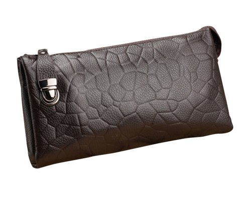 Men's Vintange Genuine Leather Business Zip Bag Day Clutch Wallet