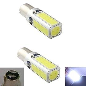 Everbrigh 2 PCS White High Power Super Bright P21W S25 20W + 1.5W 5LED COB Turn Signal Light 1157 BAY15D Car Led Bulbs Brake Lamp Parking Backup Light DC12v headlights or foglights(1157 BAY15D)