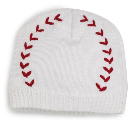 Mud Pie Newborn Baby-Boys Baseball Knit Cap, White/Red, 0-12 Months