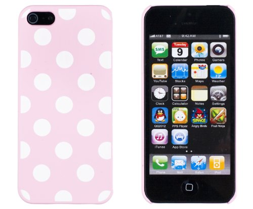 Pink Polka Dot Embossed Slim Fit Hard Case For Apple Iphone 5S / 5 (At&T, Verizon, Sprint, International) - Includes Dandycase Keychain Screen Cleaner [Retail Packaging By Dandycase] front-877502