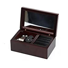 buy Laxury 18 Note Wind-Up Wooden Musical Box Jewelry Box With Mirror And Velvet To Put Your Rings In, Play Always With Me Of The Spirited Away, Sliver Musical Movement, Model M33 (Claret)