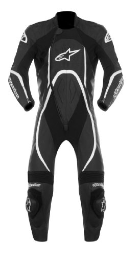 Alpinestars Orbiter Men's 1-Piece Leather Street Racing Motorcycle Race Suits - Black/White / Size 52
