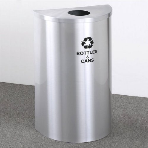 Glaro Single Purpose Half Round Recycling Receptacle, 10 Gallon, 18 Inch W, 4-7/8 Inch Dia. Hole, Plastic Message W/ Recycling Logo, Satin Aluminum Finish, Satin Aluminum Top