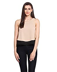 Solid Peach Georgette Double Layered Top Large