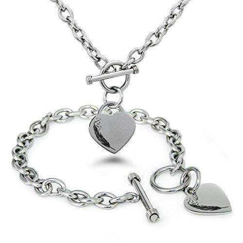 acier-inoxydable-oiseaux-de-plumes-charme-coeur-grave-bracelet-et-collier-ensemble