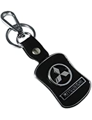 Techpro Premium Quality Leatherite Lock Keychain With Mitsubishi Design