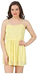 Fem&Her Women's Mini Dress (PP23, Lemon Yellow, 34)