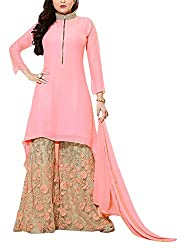Miss Ethnic Women's Georgette Unstitched Dress Material (Pink)