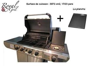 Barbecue en inox gaz 5 bruleurs plancha grill jardin - Barbecue plancha gaz inox ...