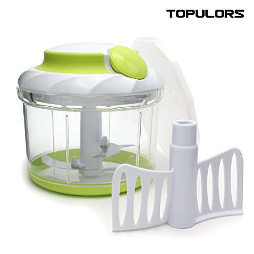 Topulors Hand-Powered Food Chopper Compact Handheld Onion Chopper, Garlic Squeezer, Ginger Slicer, Pepper Cut, Herbs Chop, Cheeses Chopper Masher-4 Cup (Garlic Onion Chopper compare prices)