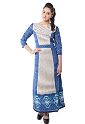 iamme Full Length Cotton Dress with Front Panel in Cotton Shiffle