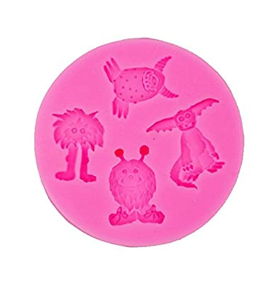Yunko 4 Hole Little Monster Silicone Cake Decorating Fondant Mold Chocolate Candy Gum Cupcake Mold