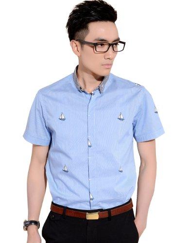 Sslr Men'S Summer Sailboat Printed Short Sleeve Shirt (Small, Blue)