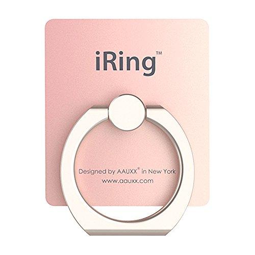 iRing (全20色) iPhone スマホ タブレット用 スマホリング 落下防止 スマホスタンド 車載ホルダー にもなる フック付き (ローズゴールド)