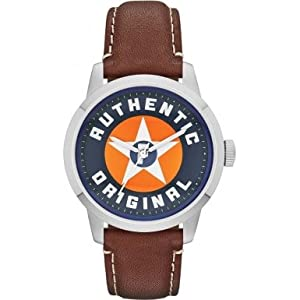 Fossil Townsman Blue and Orange Dial Brown Leather Mens Watch FS4898