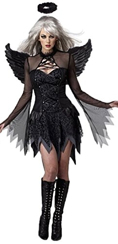 Black Angel Adult Ladies Halloween Costume Fancy Dress Outfit