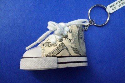 100 Dollar Bill Sneaker Shoe Keychain Keyring