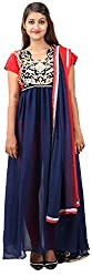 Arya The Design Gallery Women's Georgette Semi Stitched Dress Materials( SKD3734, Blue, Free Size)