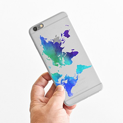 for iPhone 6 - Super Slim Case - Watercolor World Map - Ombre - Wanderlust - Travel