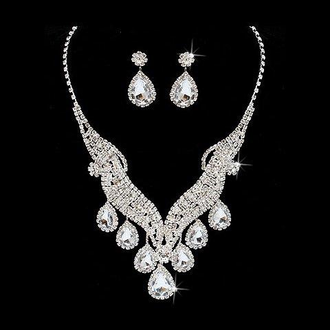 Bridal Wedding Jewelry Set Necklace Crystal Rhinestone Brilliant V Drop Silver