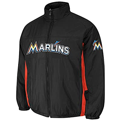 Miami Marlins Black Double Climate On-Field Jacket by Majestic