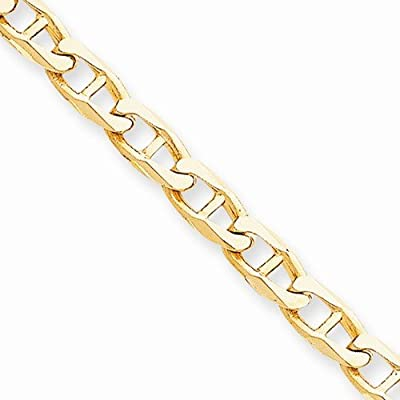 """10k Yellow Gold 7mm Hand Polished Anchor Mariner Link Bracelet - with Secure Lobster Lock Clasp 8"""""""