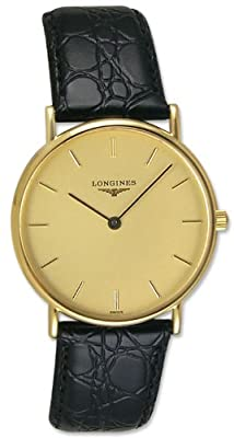 Longines Presence 18kt Solid Gold Mens Strap Luxury Swiss Watch Quartz L4.802.6.32.2
