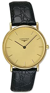 Longines Presence 18kt Gold Mens Strap Luxury Swiss Watch Quartz L4.802.6.32.2