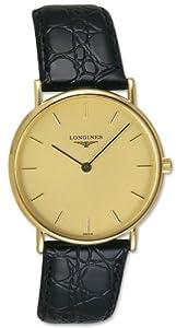 Longines Presence 18kt Gold Mens Strap Luxury Swiss Watch Quartz L4.802.6.32.2