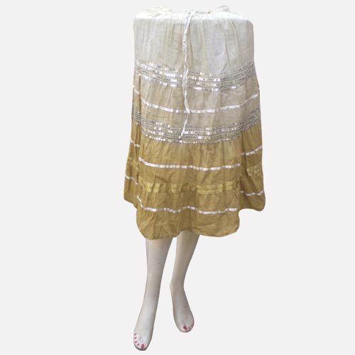 Handmade Soft Color Cotton Skirts With Adustable Doori, Inside Lining, Sequins And Strips (Free Shipping) Skrt0015
