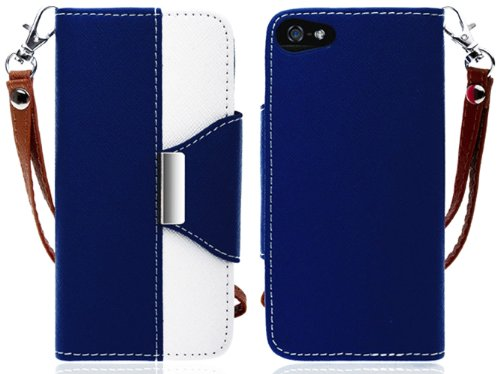 Mylife (Tm) Navy Blue And White Stylish Design - Textured Koskin Faux Leather (Card And Id Holder + Magnetic Detachable Closing) Slim Wallet For Iphone 5/5S (5G) 5Th Generation Itouch Smartphone By Apple (External Rugged Synthetic Leather With Magnetic Cl