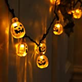 Battery Operated Indoor Halloween Party Orange Pumpkin Fairy String Lights with 10 LEDs, Clear Cable by Festive Lights