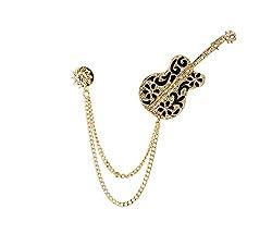 Black And Gold Swarovski Guitar With Hanging Tassel And Sunshine Brooch/Shirt Stud/Lapel Pin For Men