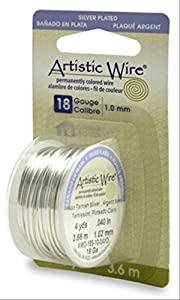 Beadalon Artistic Wire 18-Gauge Tarnish Resistance Silver Wire, 4-Yard