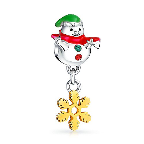 Gold Plated Silver Snowflake Dangle Bead Fits Pandora