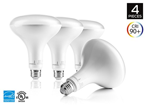 4-Pack of Hyperikon® BR40 LED Bulb, 15W (100W equivalent), 1420lm, 4000K (Daylight White®), Wide Flood Light Bulb, 120° Beam Angle, Medium Base (E26), Dimmable, ENERGY STAR-Qualified and UL-Listed (100w Led Flood Light compare prices)
