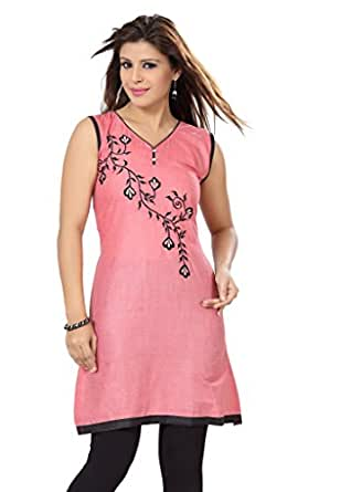 ISHIN Poly Cotton Red kurti available at Amazon for Rs.1499