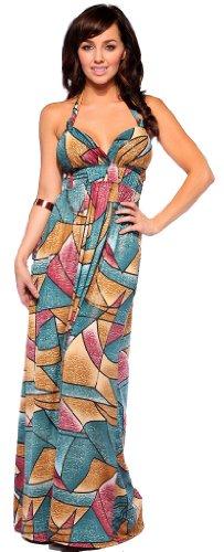 Multi Color Cheetah Print Halter Surplice Womens Designer Long Maxi Dress (Small, Teal/Red/Gold Geometric Print)