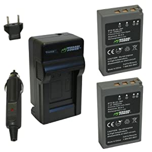 Wasabi Power Battery (2-Pack) and Charger for Olympus BLS-5, PS-BLS5 and Olympus OM-D E-M10, PEN E-PL2, E-PL5, E-PL6, E-PM2, Stylus 1