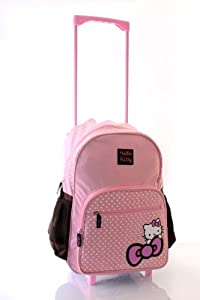 HELLO KITTY Limited Edition Pink Brown Wheeled Trolley Bag/Backpack/Travel bag/School Bag