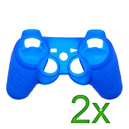 GTMax 2x Blue Silicone Cover Case for Sony PS3 Controller